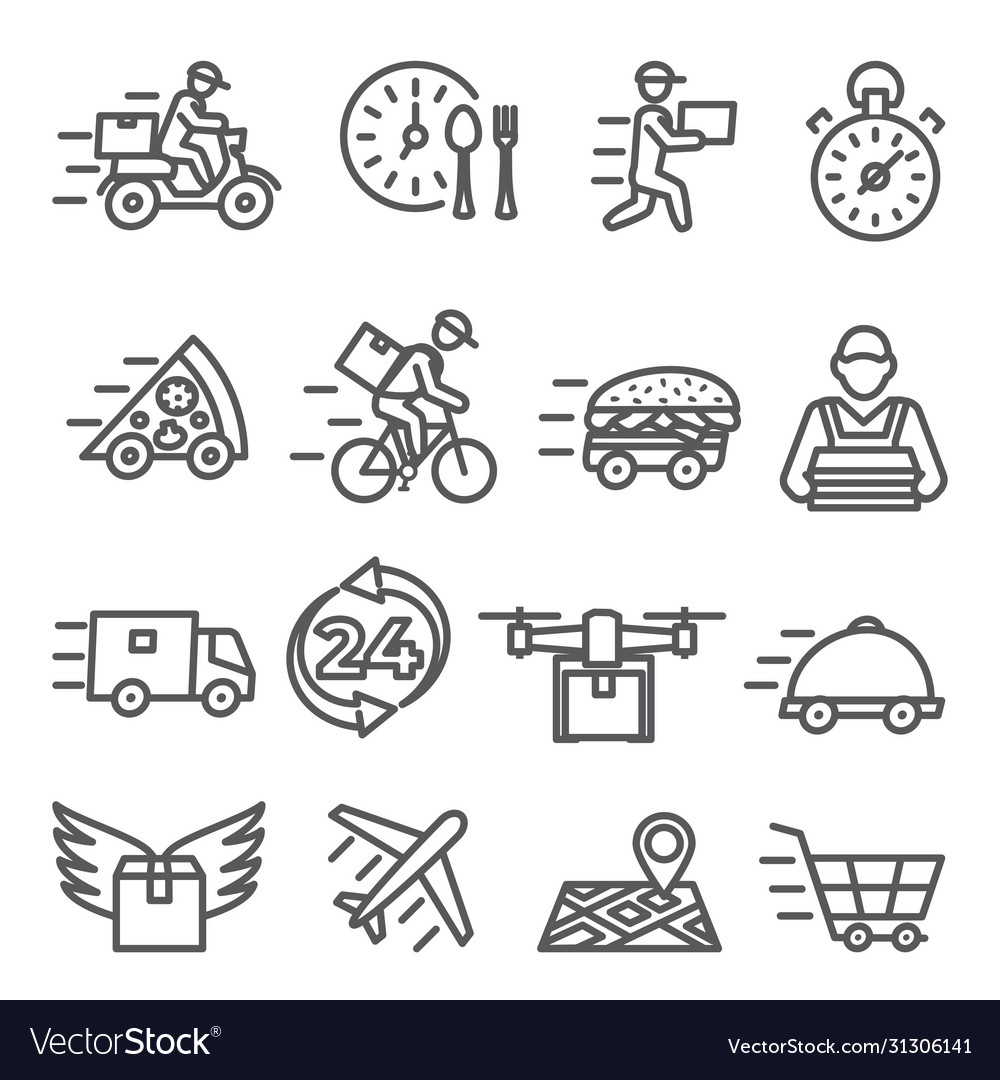 Food delivery line icons on white background