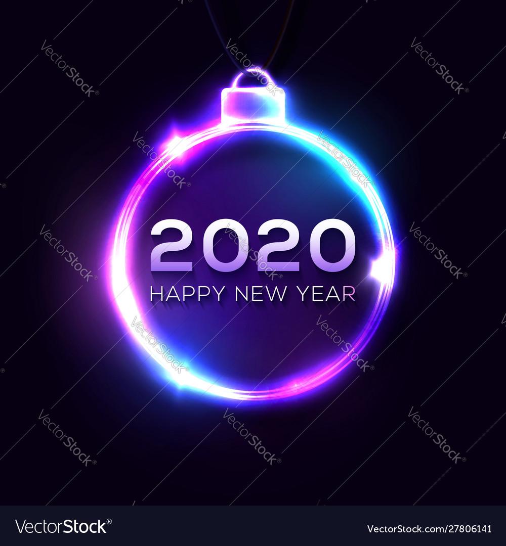 Happy new 2020 year sign on dark blue background