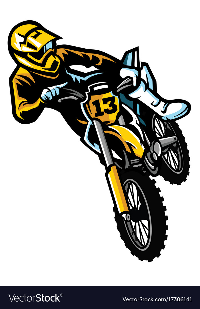 Motocross Rider In Act Royalty Free Vector Image