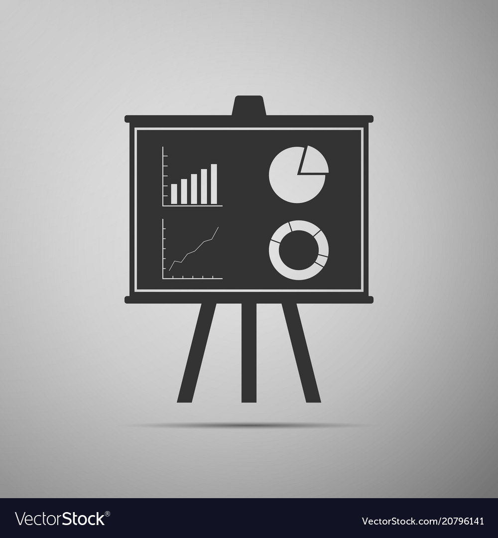 Presentation financial board with graph chart