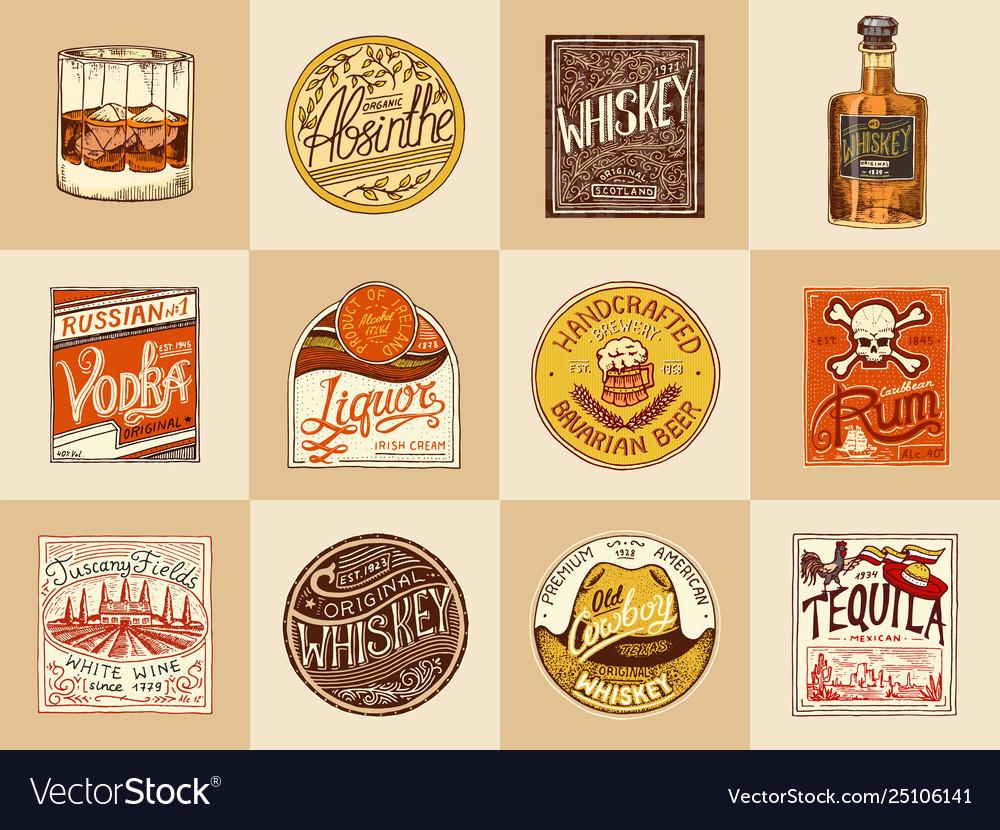 Set alcohol labels vintage american badge