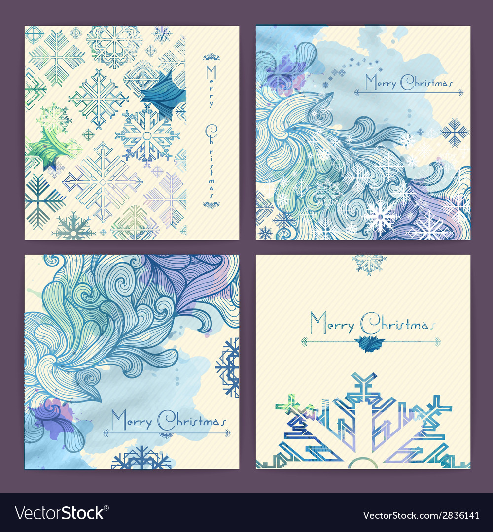 Set of holiday Christmas cards vector image