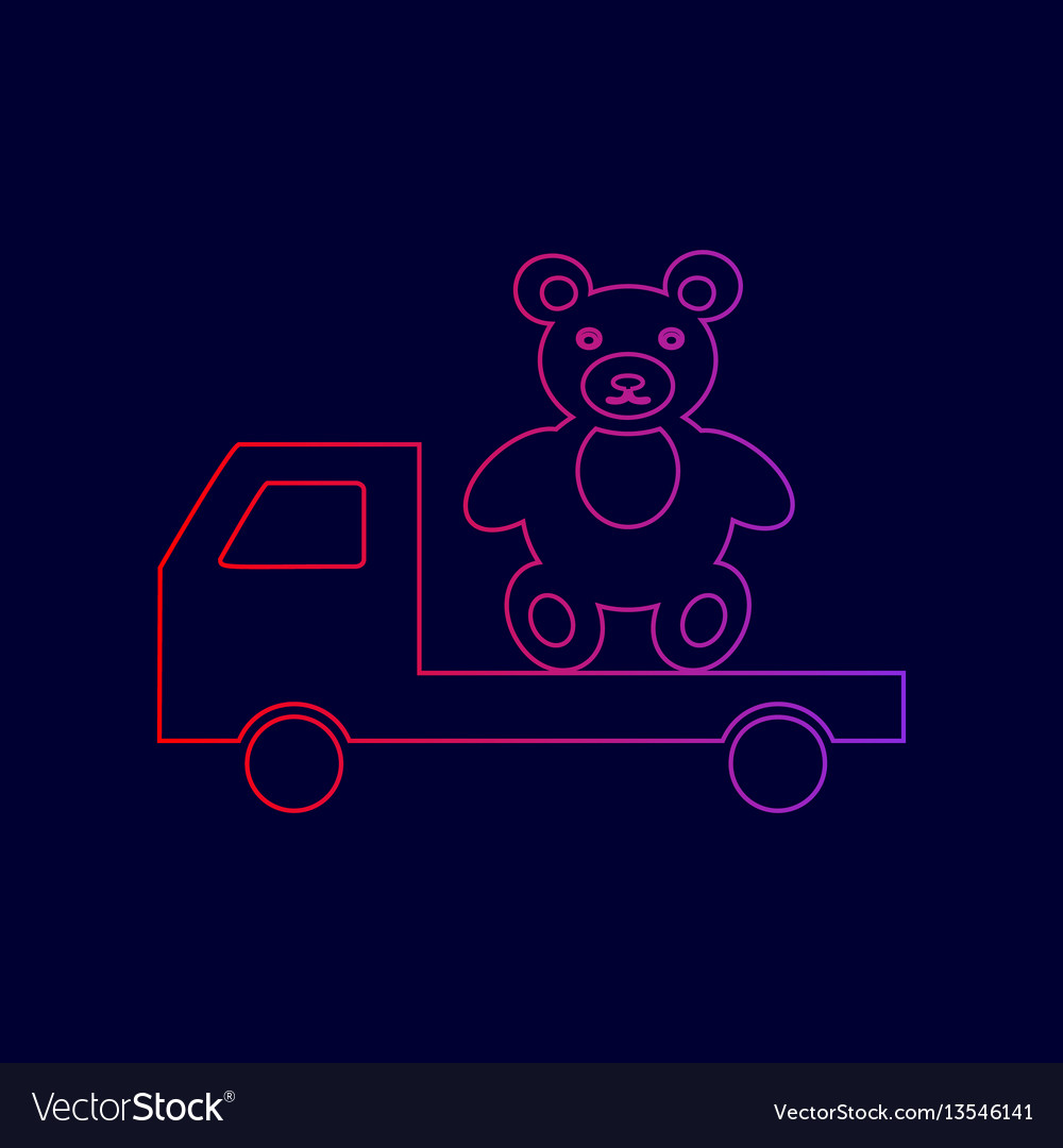 Truck with bear line icon with gradient