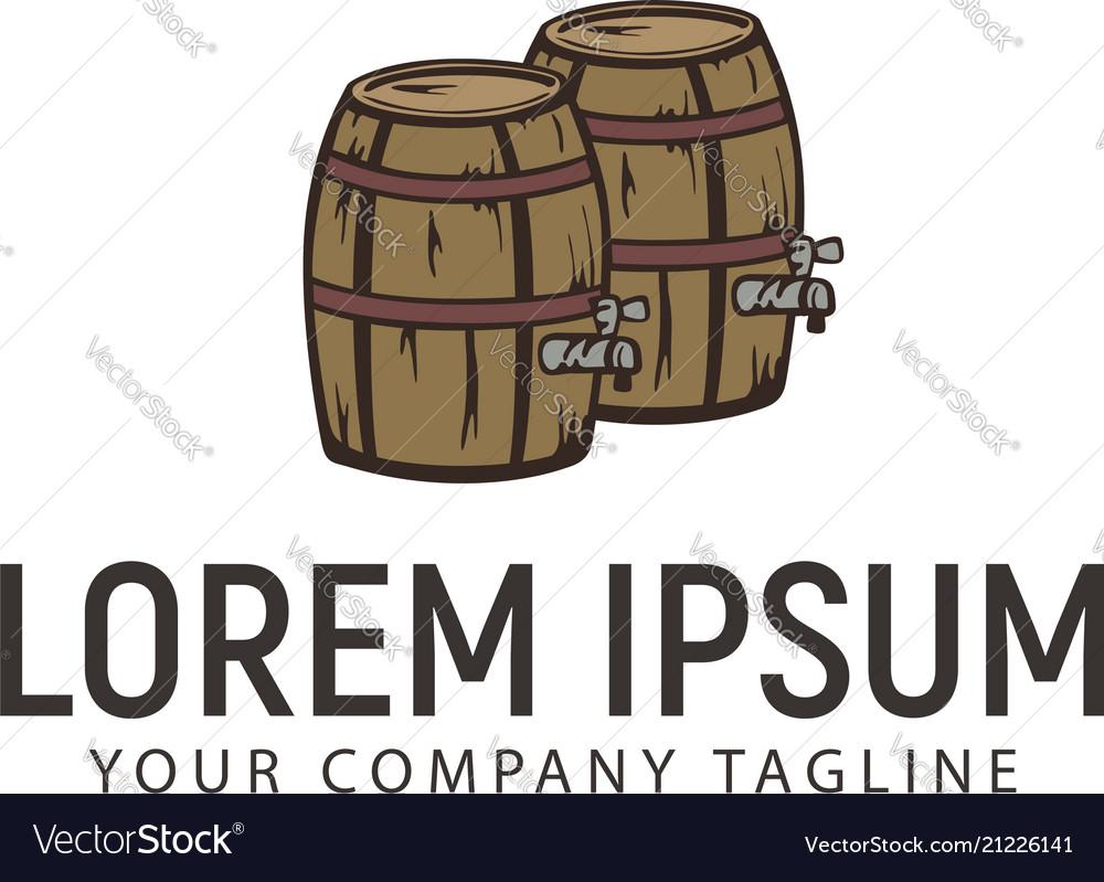 Wine barrel retro hand drawn logo design concept