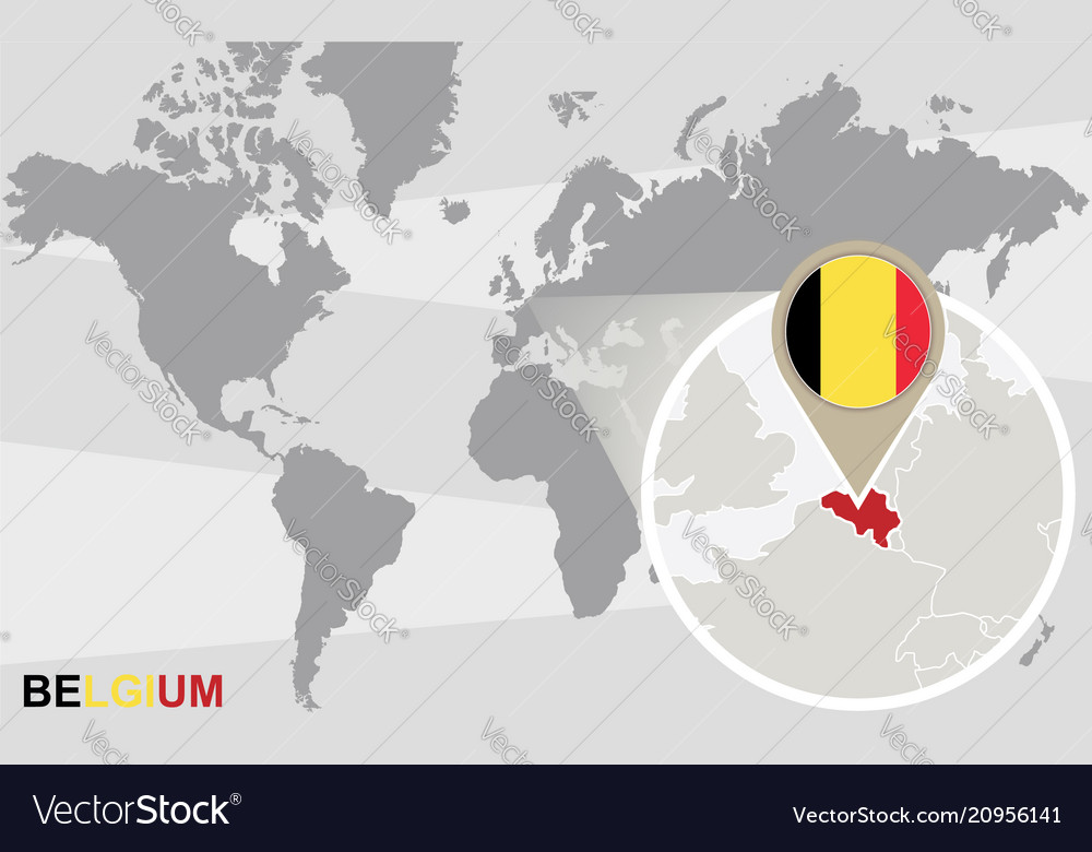 World map with magnified belgium