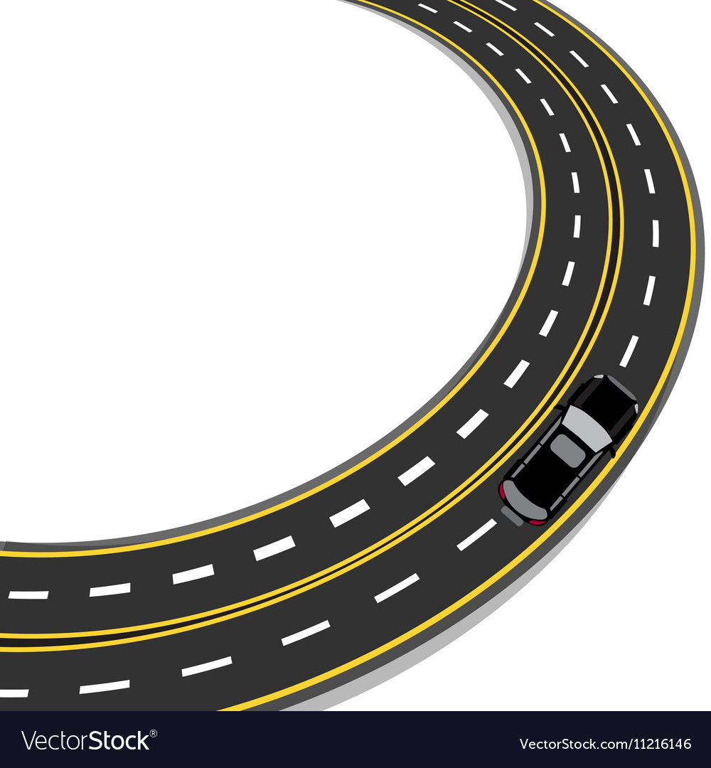 Bend in road with yellow and white markings