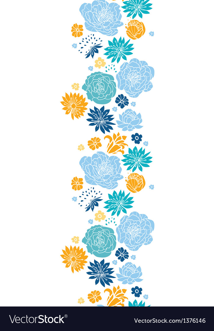 Blue and yellow flowersilhouettes vertical