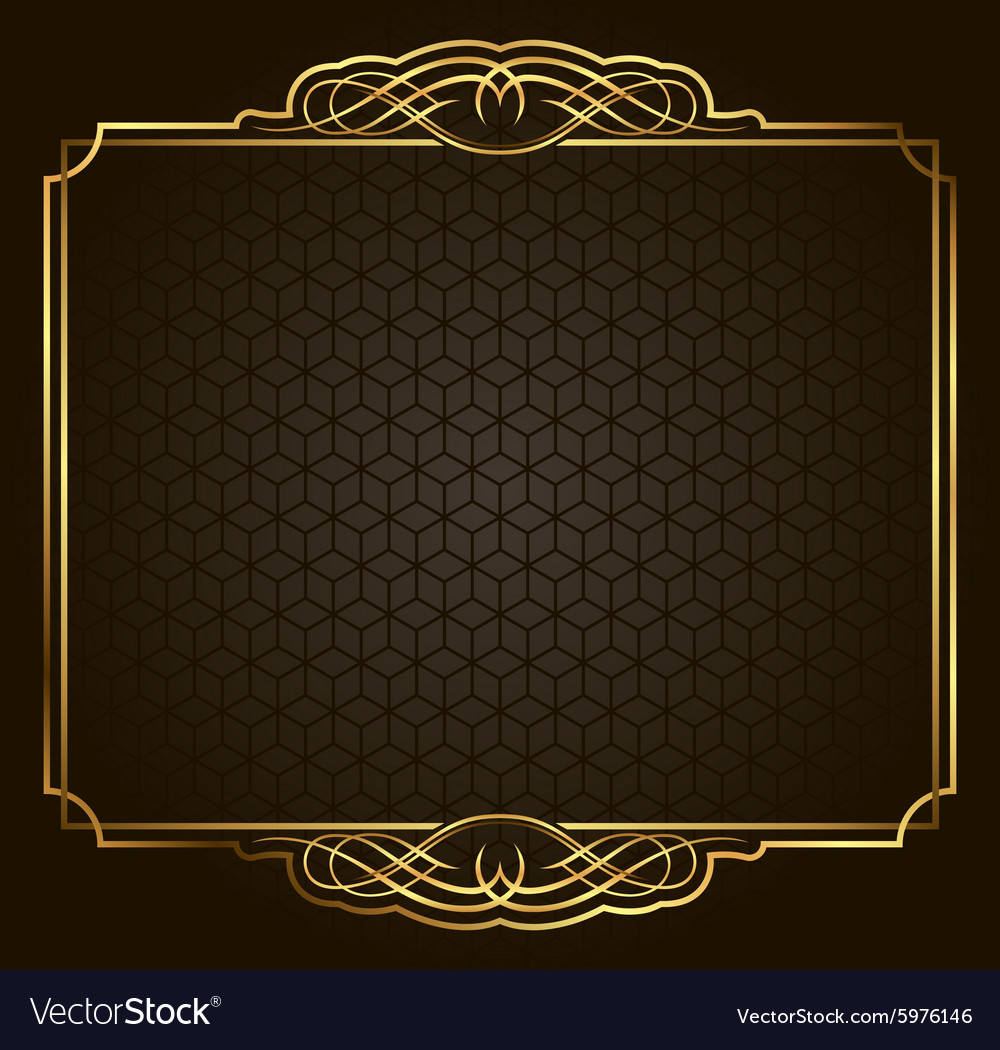 Calligraphic Retro gold frame on background vector image