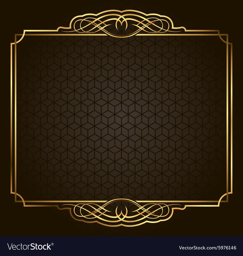 Calligraphic Retro gold frame on background