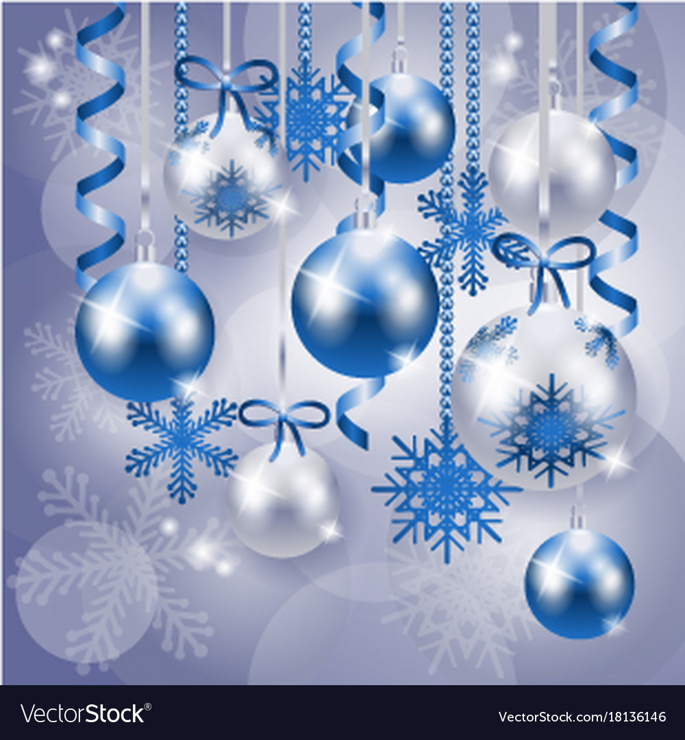 christmas background in blue and silver royalty free vector vectorstock