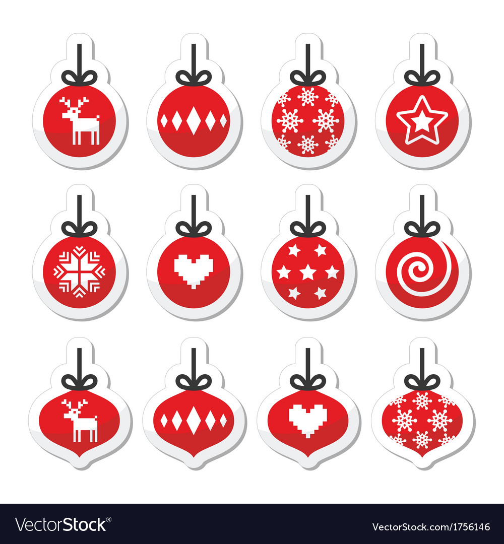 Christmas ball christmas bauble red icons vector image