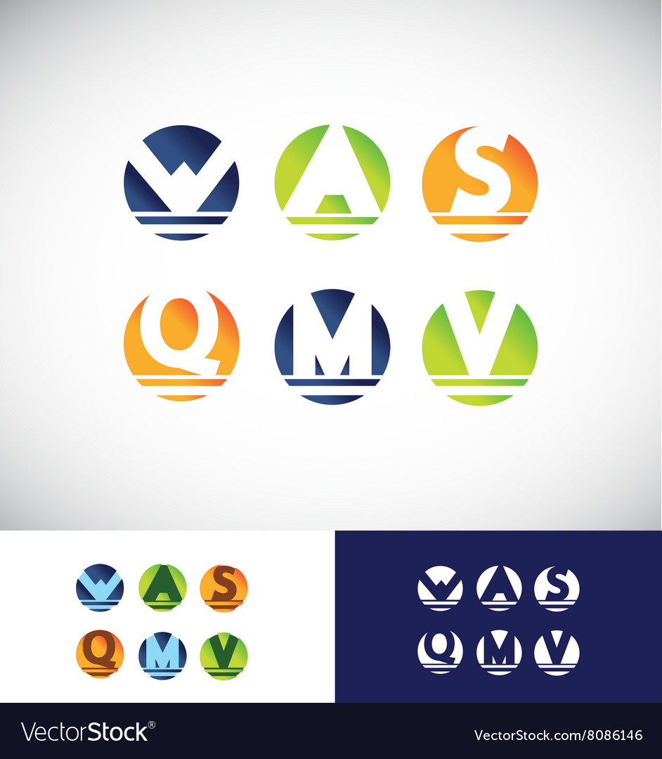 Circle sphere alphabet letter logo icon set