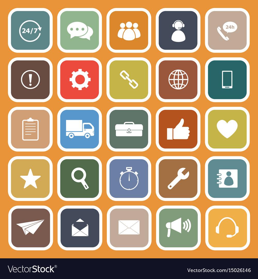 Customer service flat icons on orange background