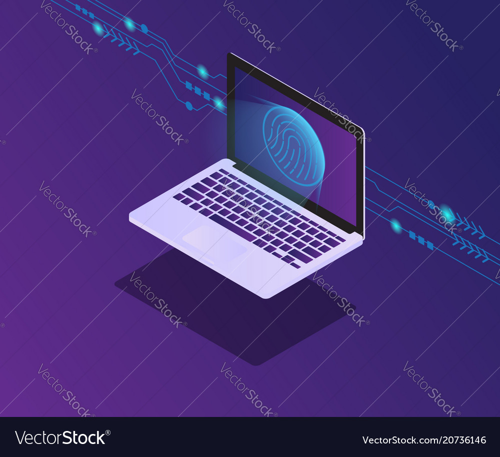 Cyber security laptop with fingerprint for locked