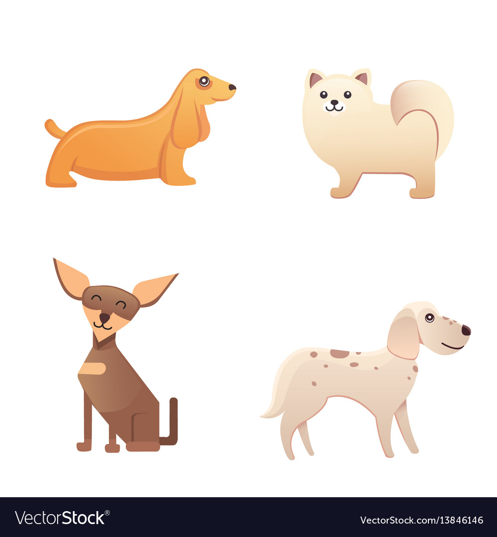 Different type of cartoon dogs happy dog set