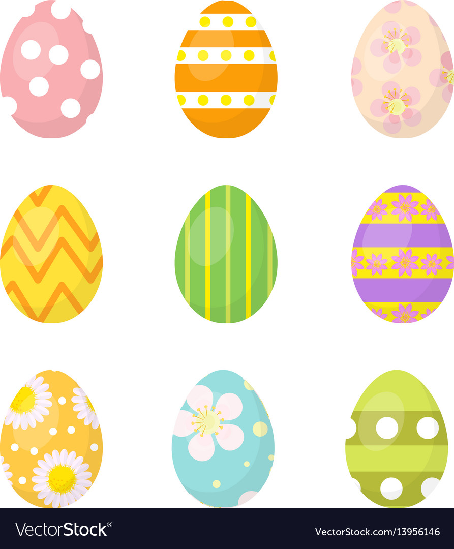 Easter eggs set of icons design elements