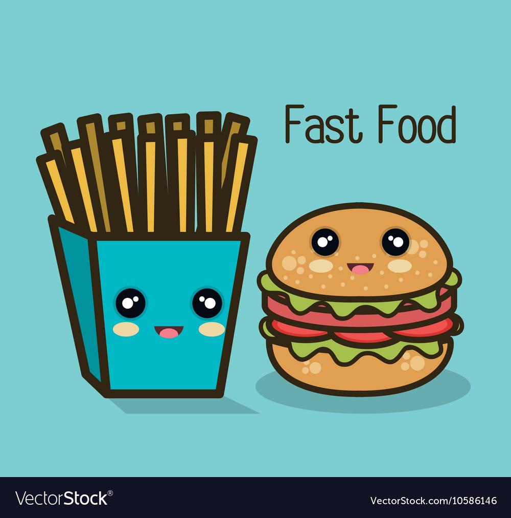 Icon cartoon burger fries design