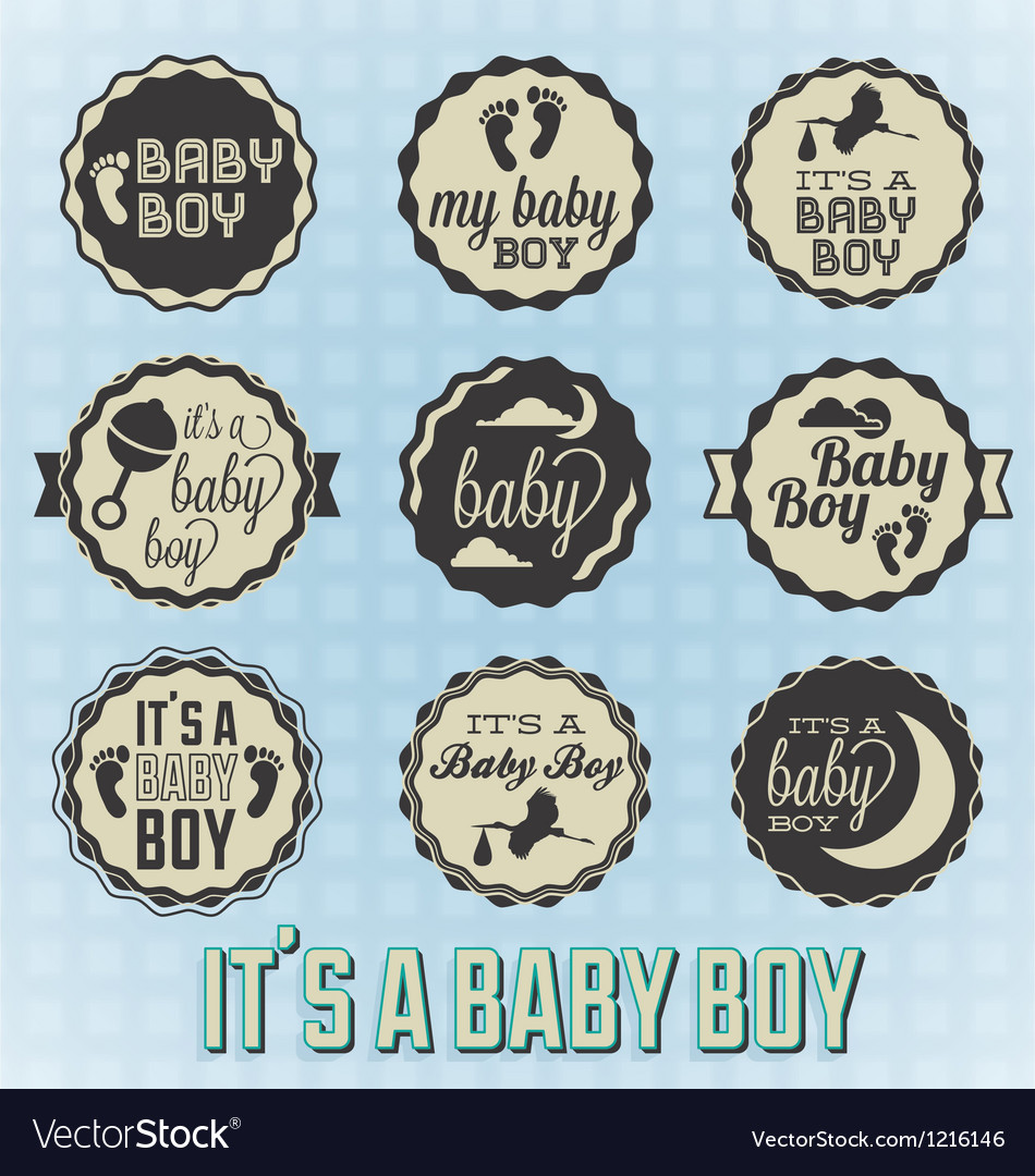 Its a Baby Boy Labels and Icons
