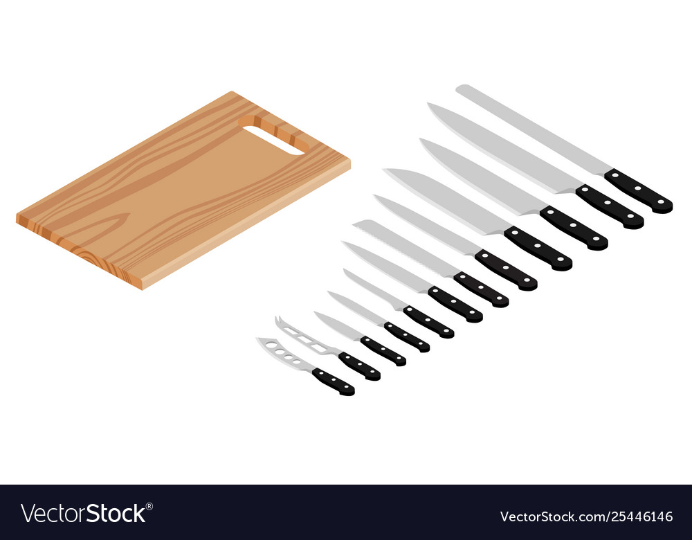 Meat cutting knives and board