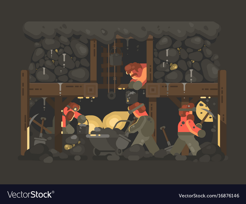 Mine for gold mining vector image
