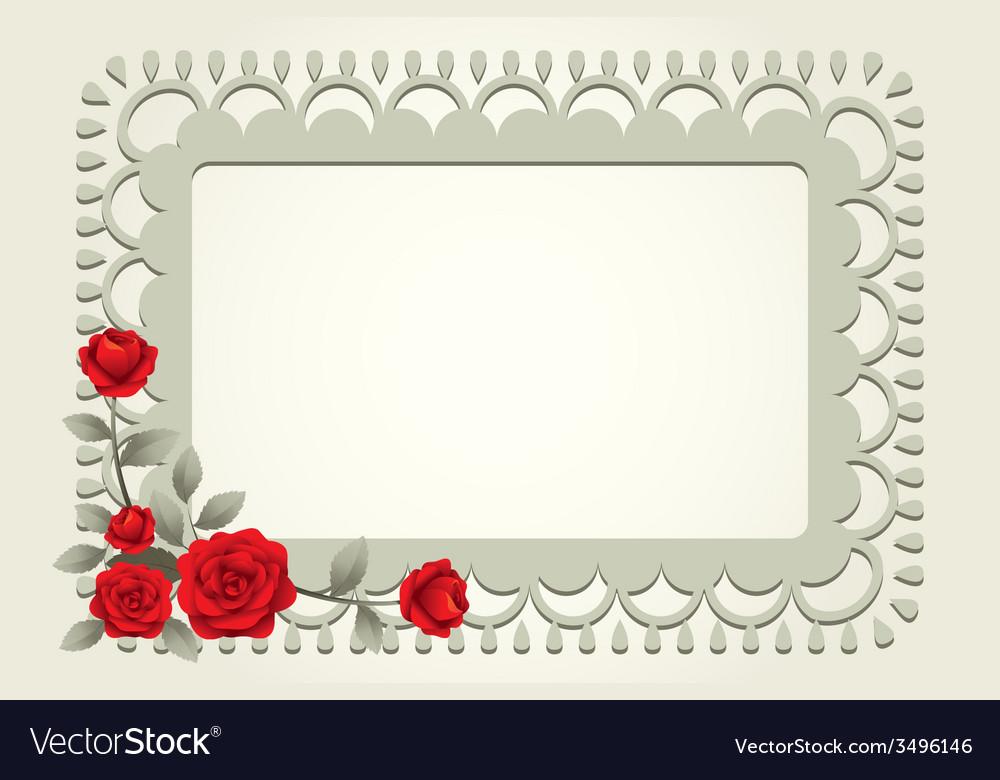 Roses Vintage Square Shape Frame and Border