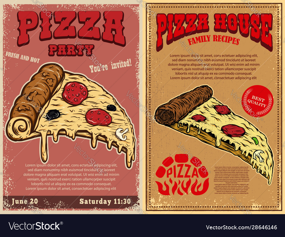 Set poster template with pizza design element