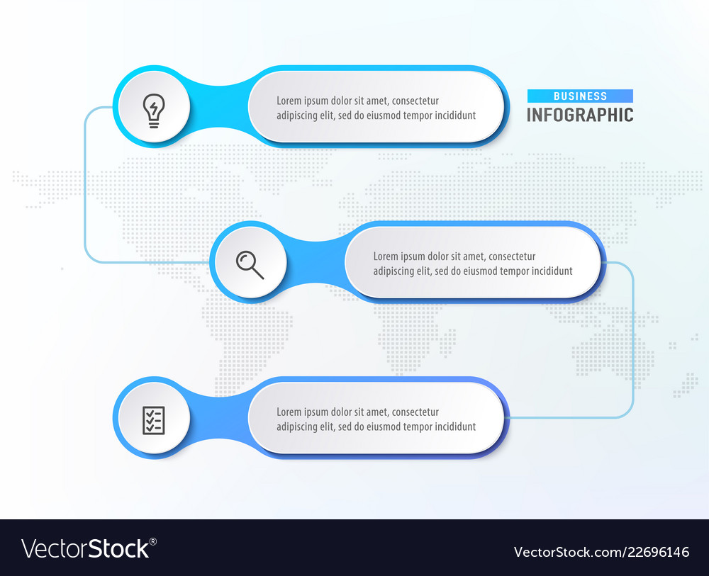 Three steps workflow infograph chart diagram