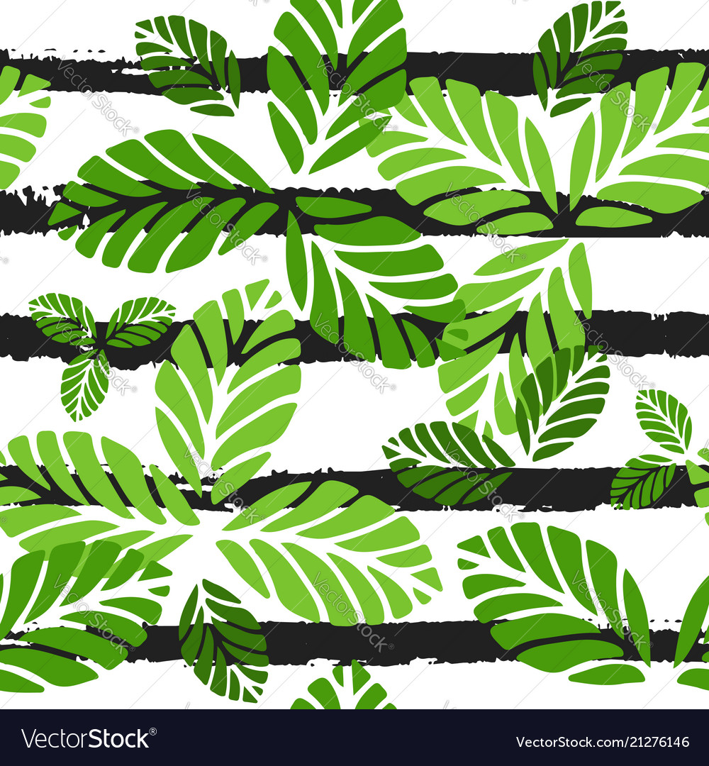 Tropical seamless pattern with green leaves