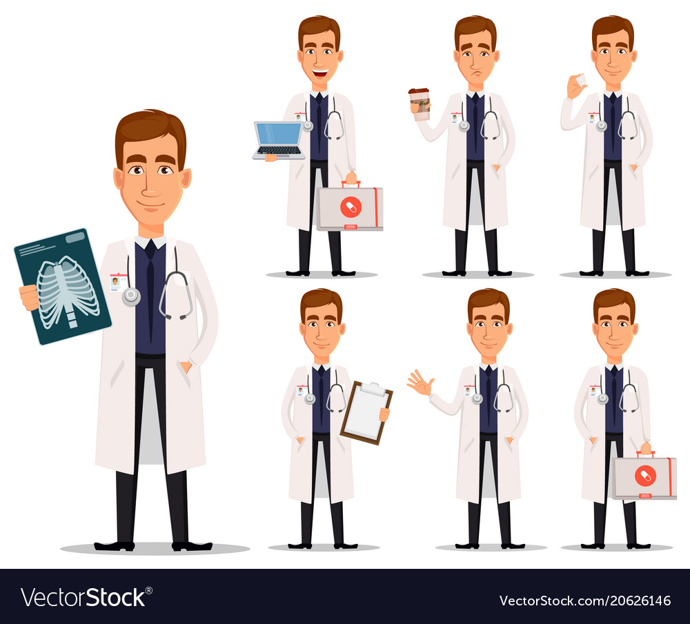 Young professional doctor in white coat set