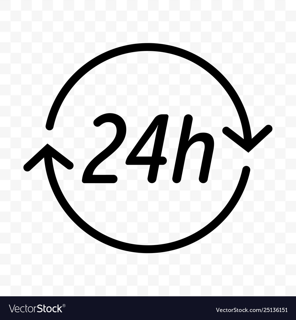 24 hours clock arrow icon round clock customer