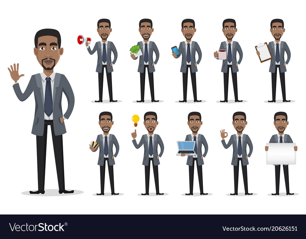 African american business man cartoon character