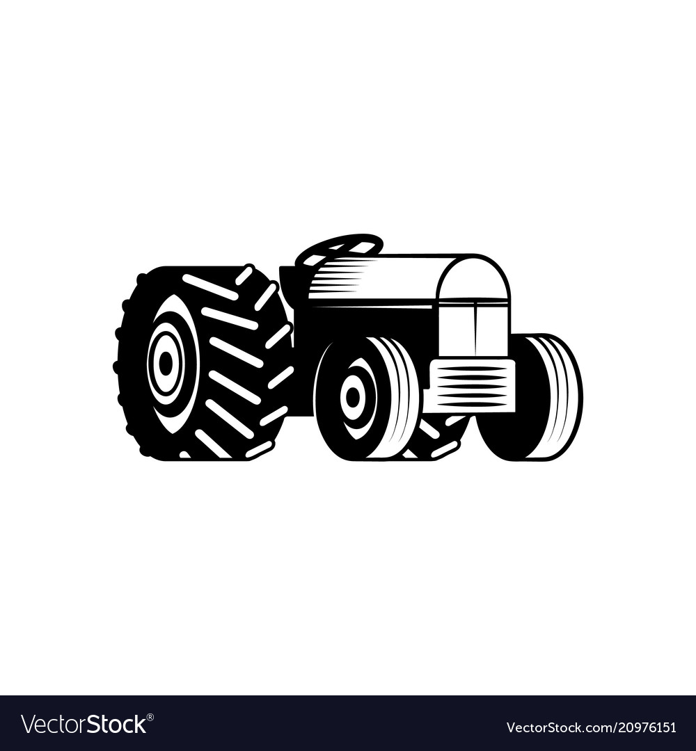 Agricultural tractor monochrome silhouette
