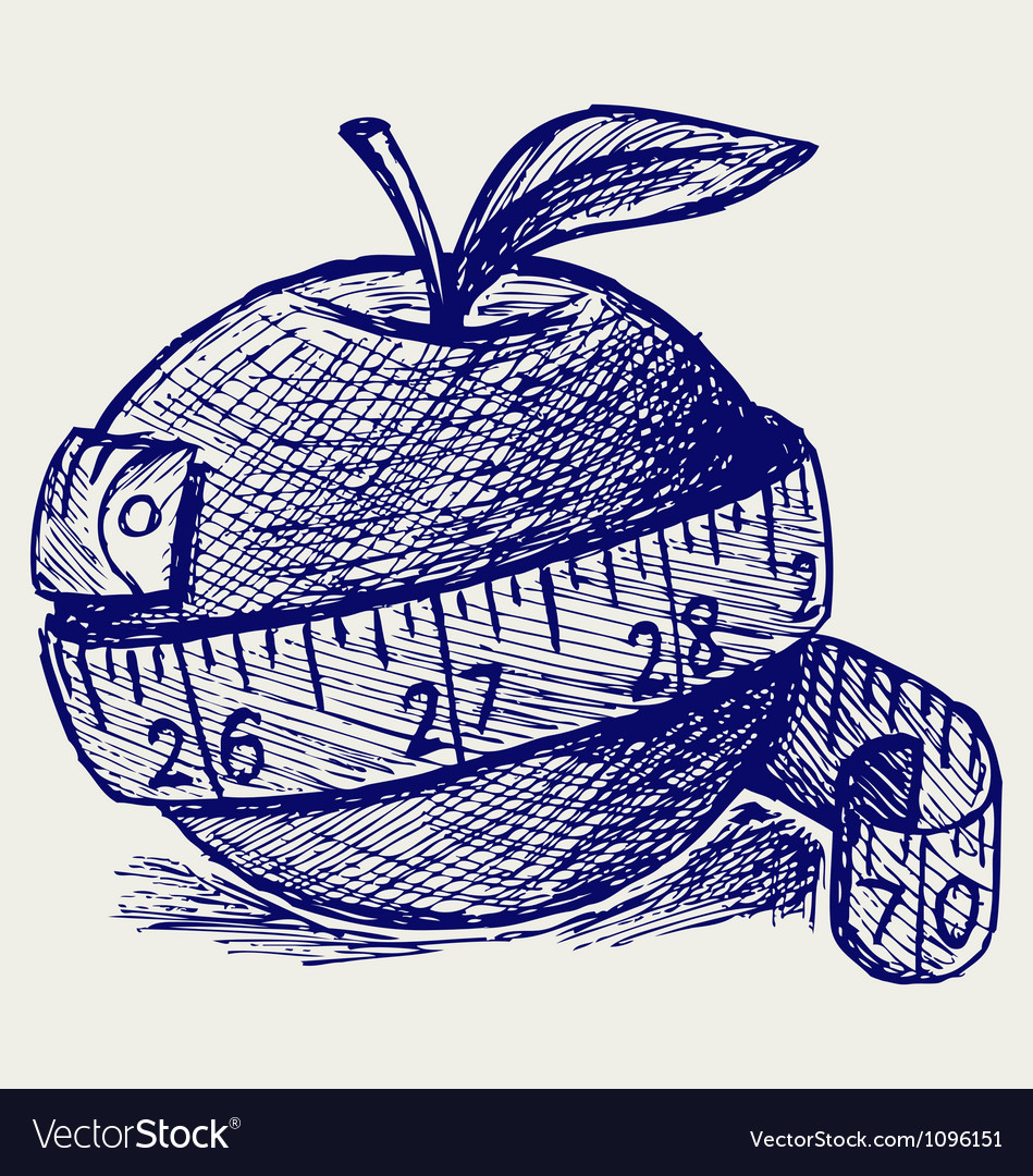 Apple and measure tape vector image