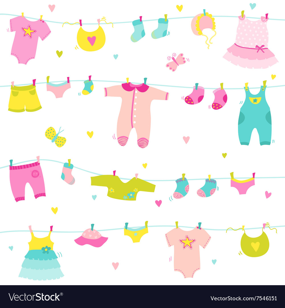 Baby girl cute background for baby shower vector image - Baby background ...