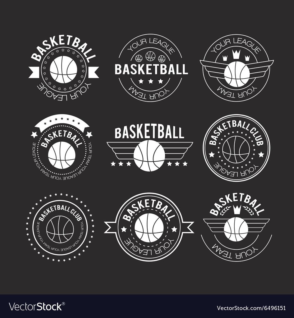 Basketball set vintage emblems
