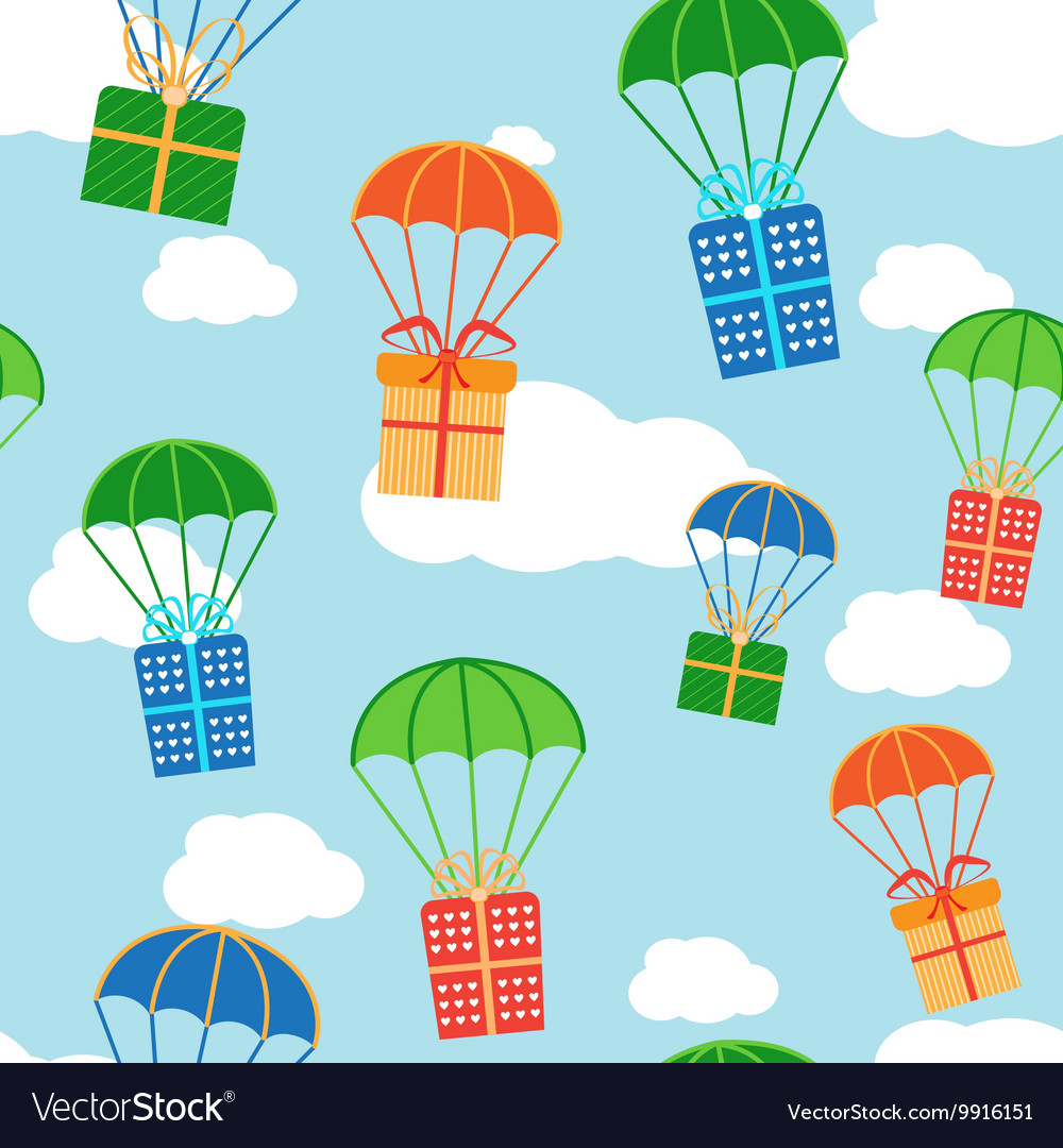 Cartoon colorful parachutes with gift boxes vector image negle Choice Image