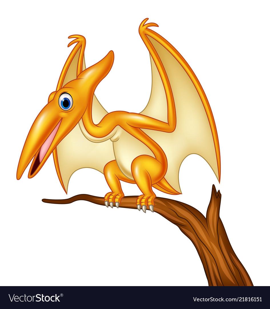 Cartoon pterodactyl on a branch