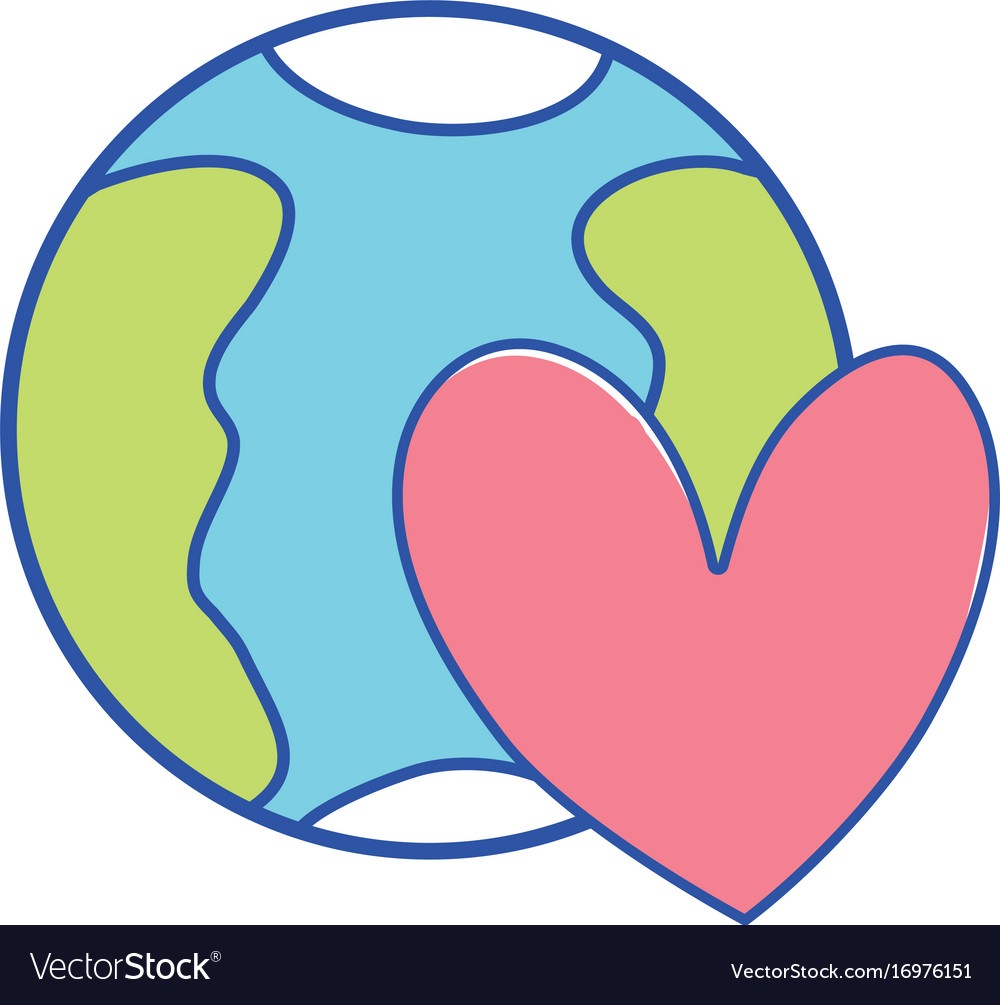 Earth Planet With Heart Symbol Of Love Royalty Free Vector