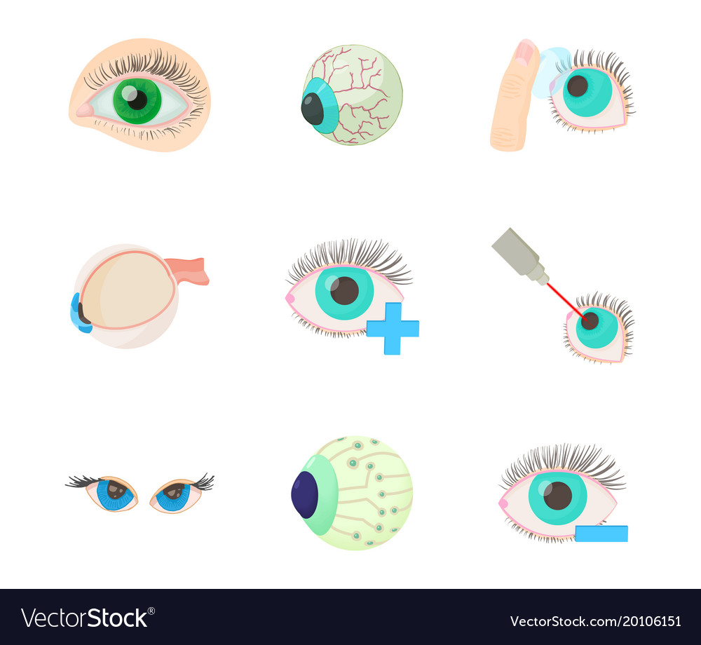 Eyes icon set cartoon style