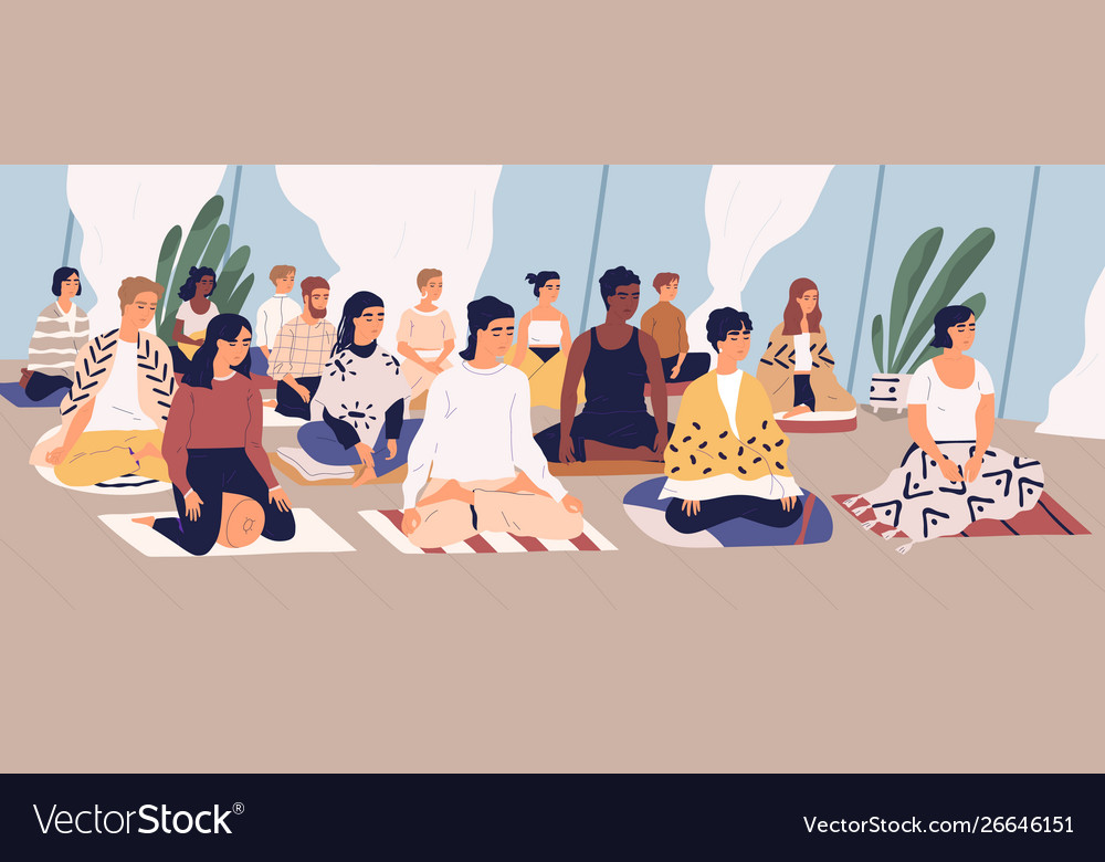 Group young men and women sitting on floor