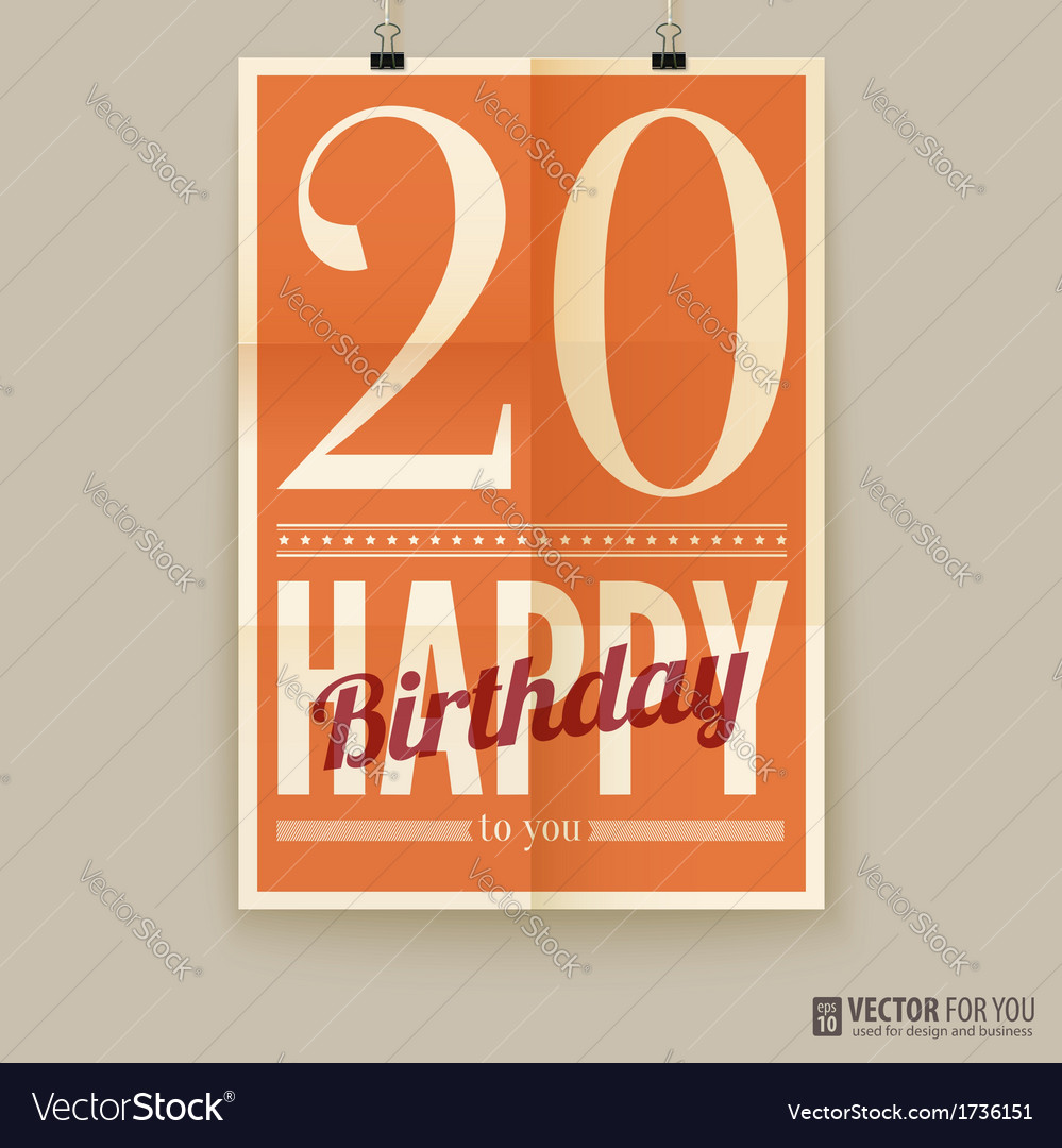 Happy birthday poster card twenty years old