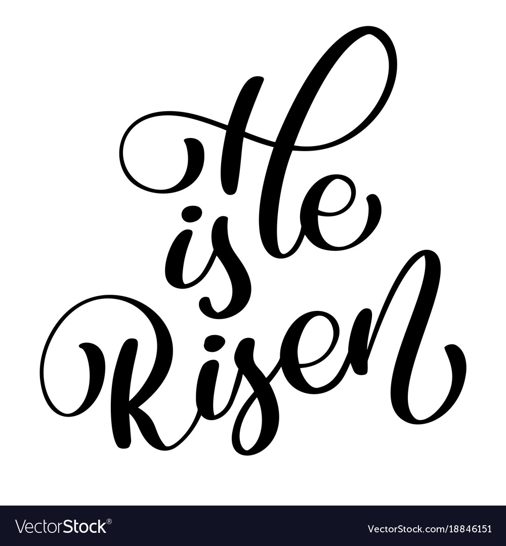 He is risen text on white background calligraphy vector image
