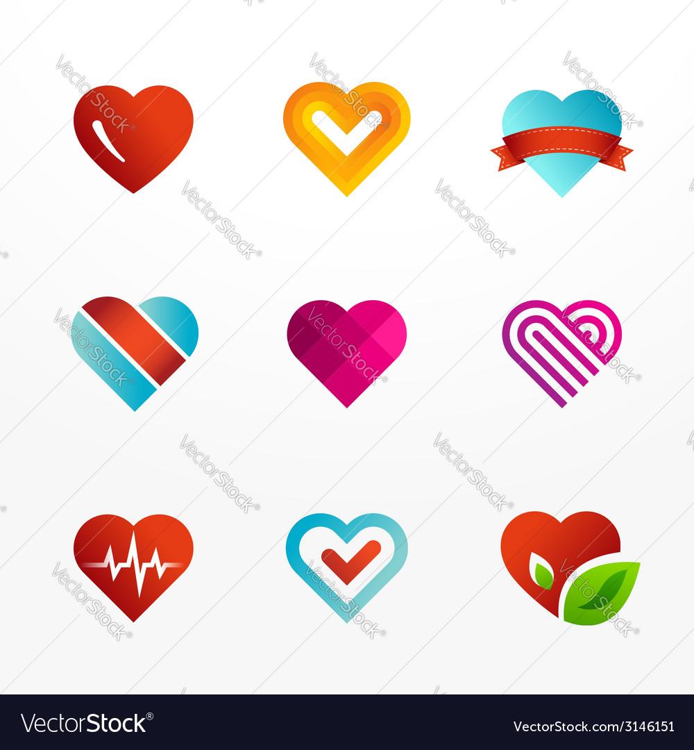 Heart symbol logo icon set