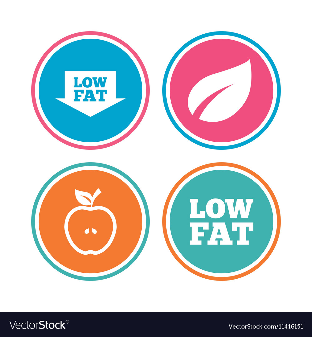 Low fat icons Diets and vegetarian food signs