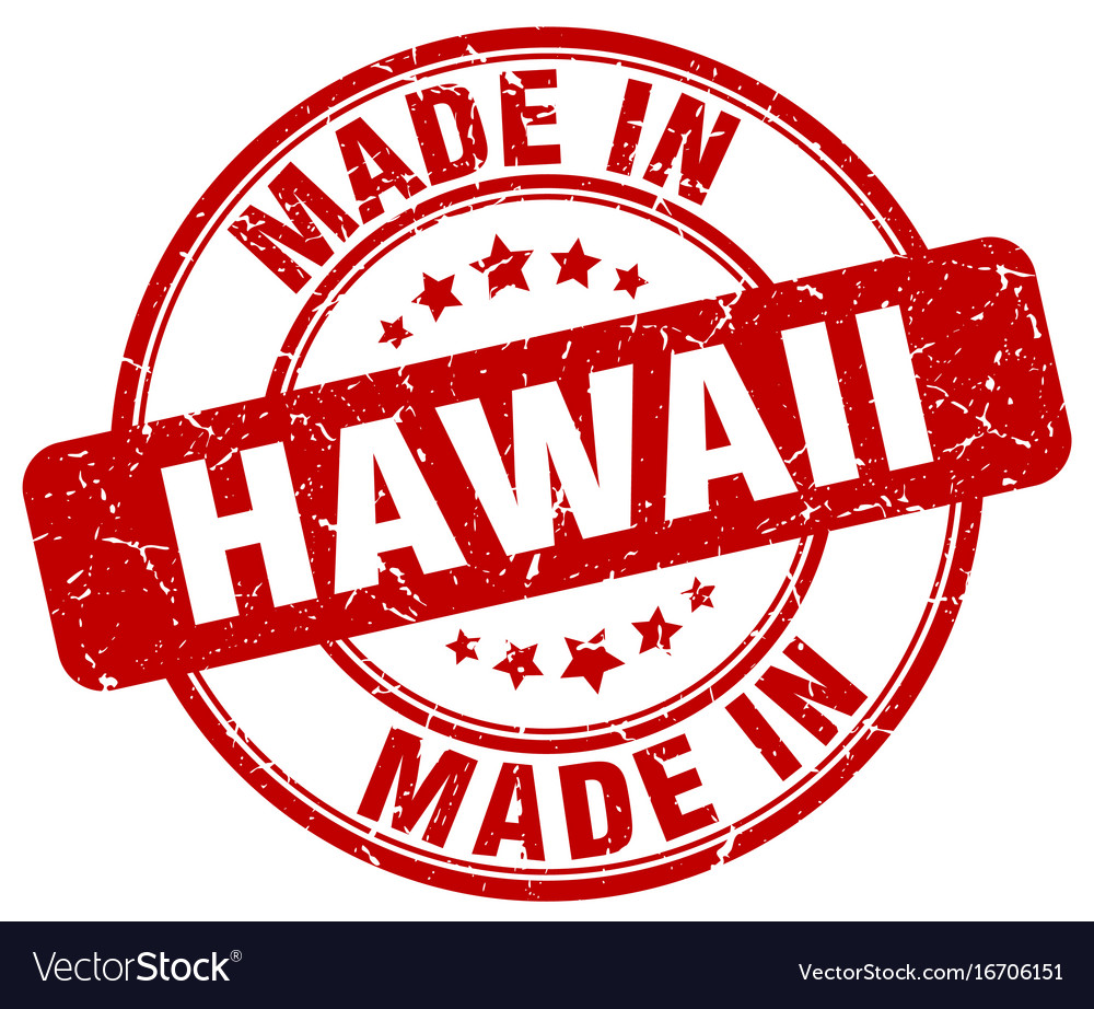 Made In Hawaii Red Grunge Round Stamp Vector Image