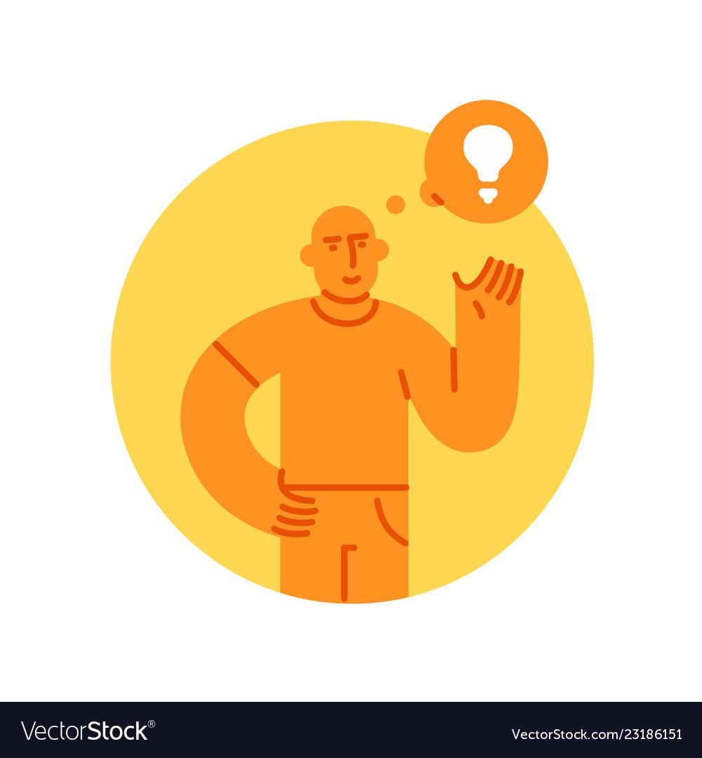 Man with light bulb icon concept of creative idea