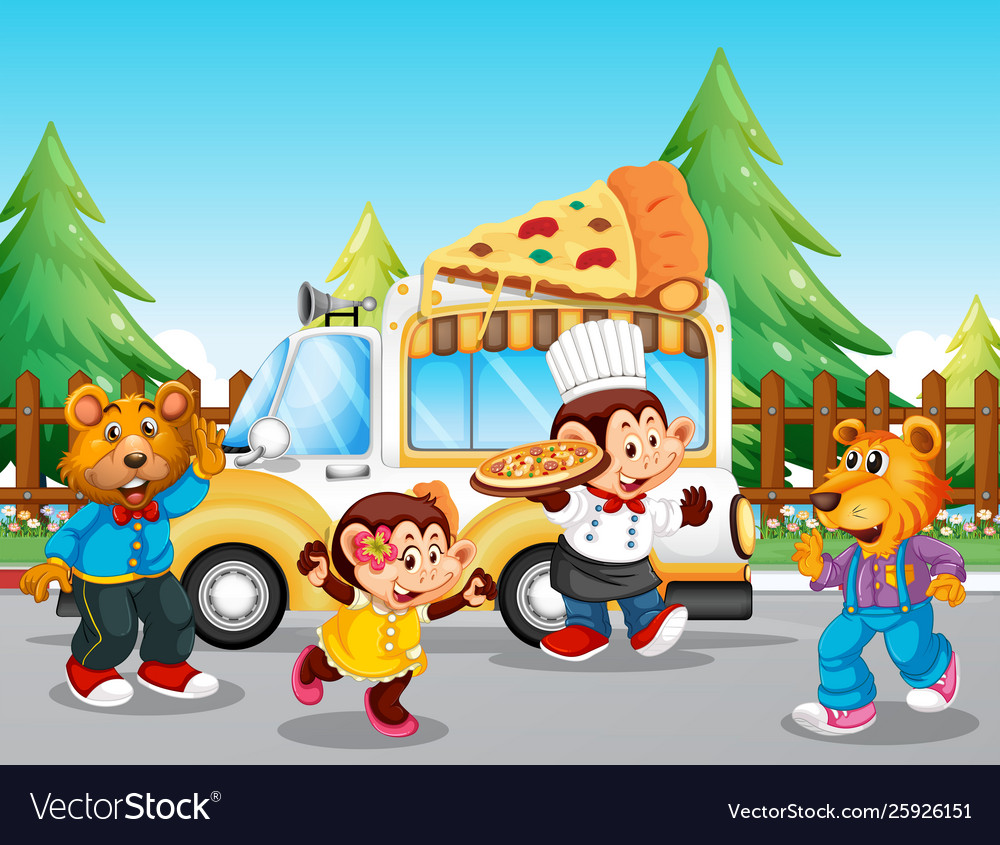 Pizza food truck at park