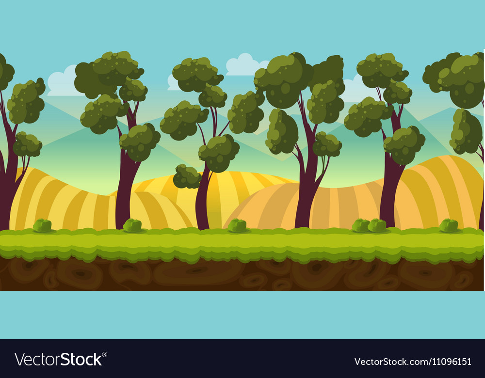 Seamless background trees and hills