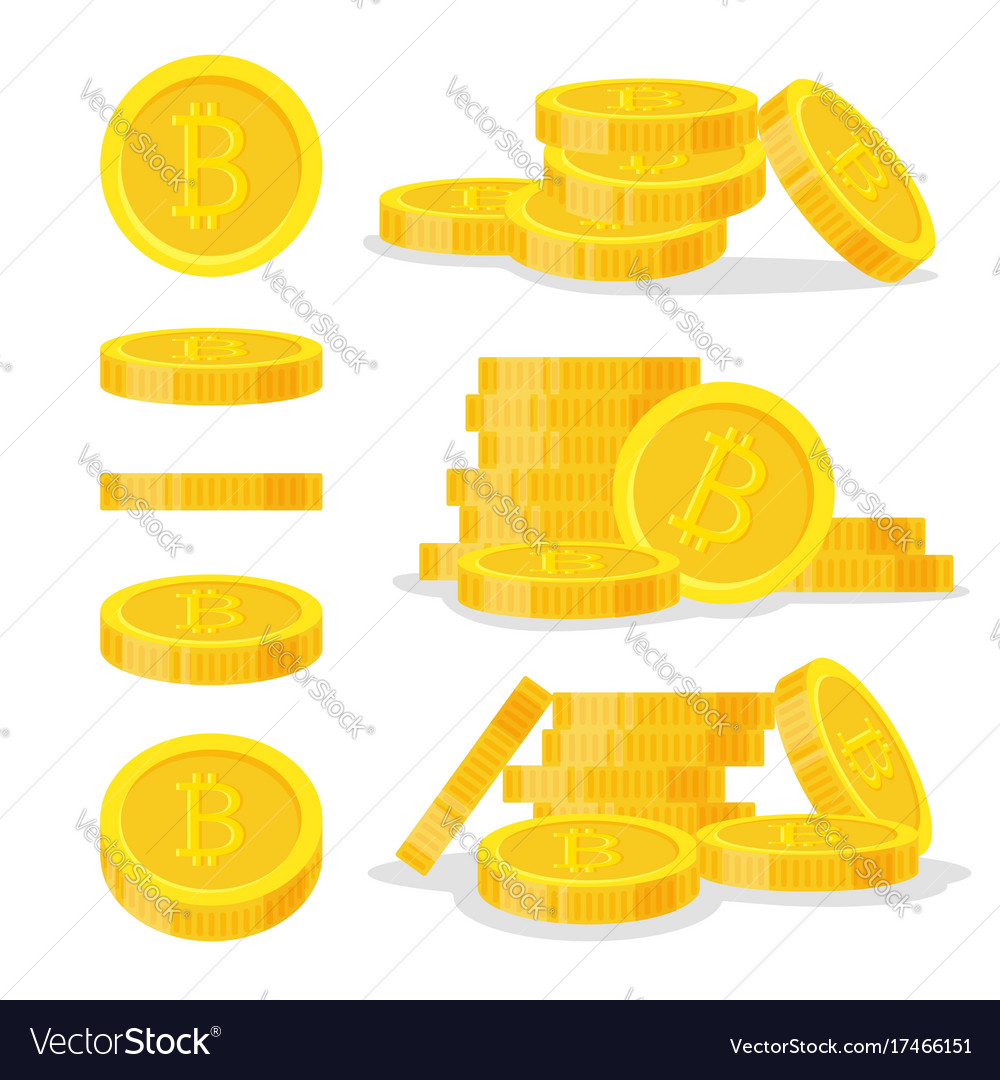 Set digital bitcoins flat style isolated on white