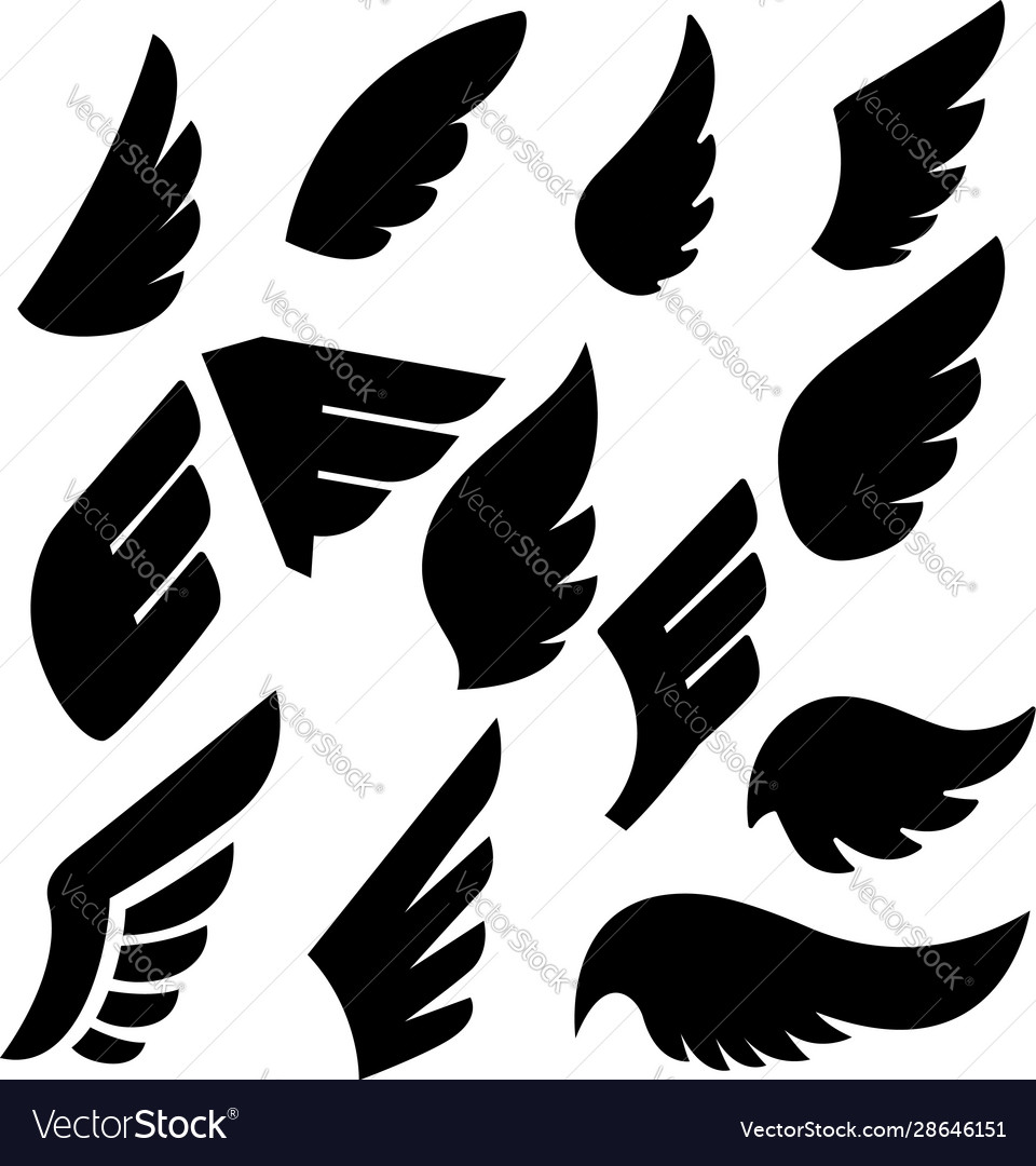 Set wing icons design element for poster